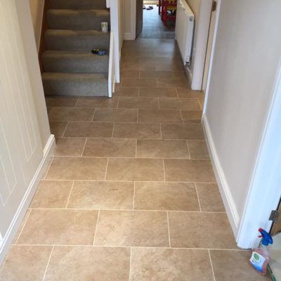 Tiled floor in hallway